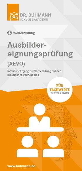 """Titelblatt des Flyers """"Ausbildereignungsprüfung (AEVO)"""""""