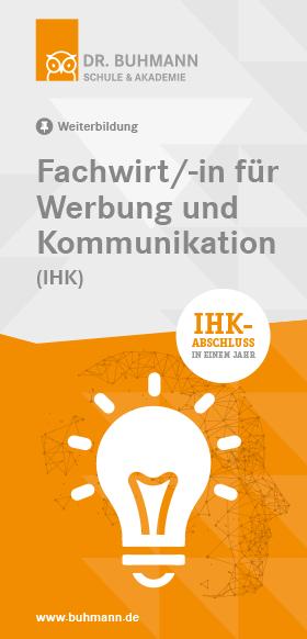 """Titelblatt des Flyers """"Fachwirt/-in für Werbung und Kommunikation (IHK)"""""""