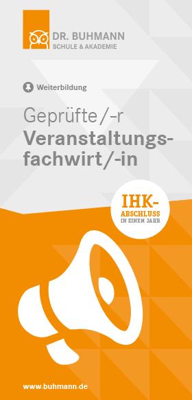 """Titelblatt des Flyers """"Geprüfte/-r Veranstaltungsfachwirt/-in"""""""