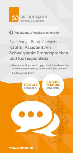 """Titelblatt des Flyers """"Zweijährige Berufsfachschule Kaufmännische/-r Assistent/-in Fremdsprachen und Korrespondenz"""""""