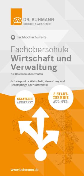 """Titelblatt des Flyers """"Fachoberschule Wirtschaft und Verwaltung"""""""